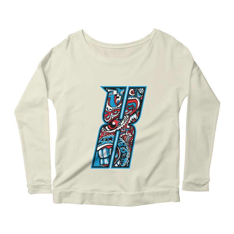 Crazy Face_X001 Women's Scoop Neck Longsleeve T-Shirt by Art of Yaky Artist Shop