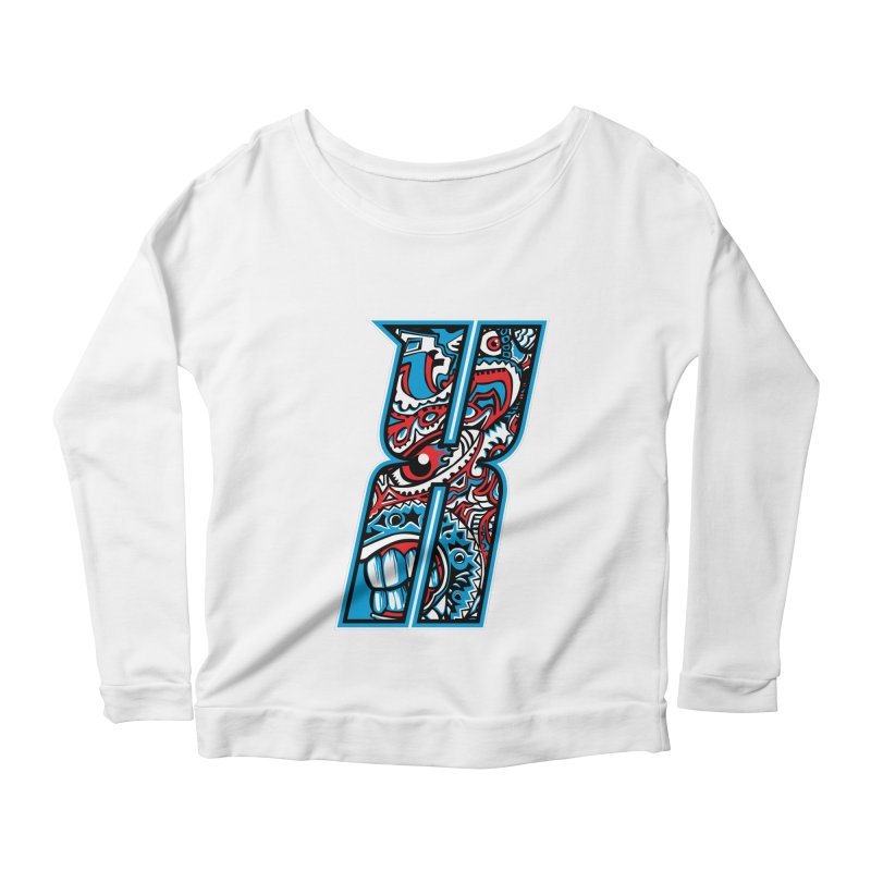 Crazy Face_X001 Women's Scoop Neck Longsleeve T-Shirt by Art of Yaky Artist Shop