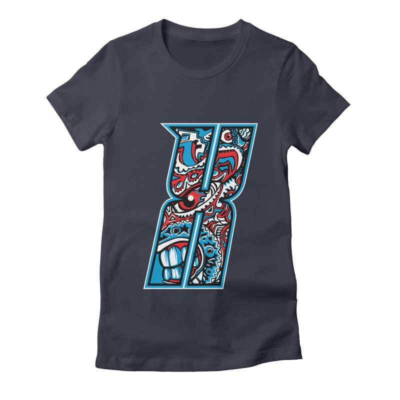 Crazy Face_X001 Women's Fitted T-Shirt by Art of Yaky Artist Shop