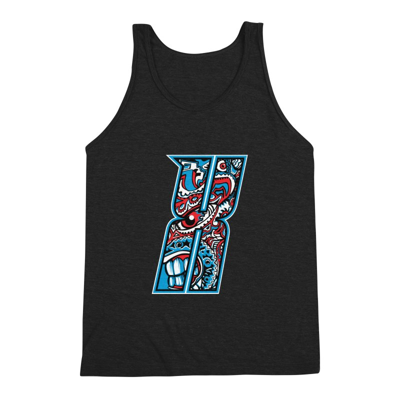 Crazy Face_X001 Men's Triblend Tank by Art of Yaky Artist Shop