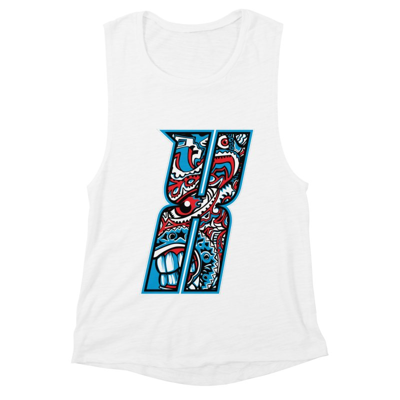 Crazy Face_X001 Women's Muscle Tank by Art of Yaky Artist Shop