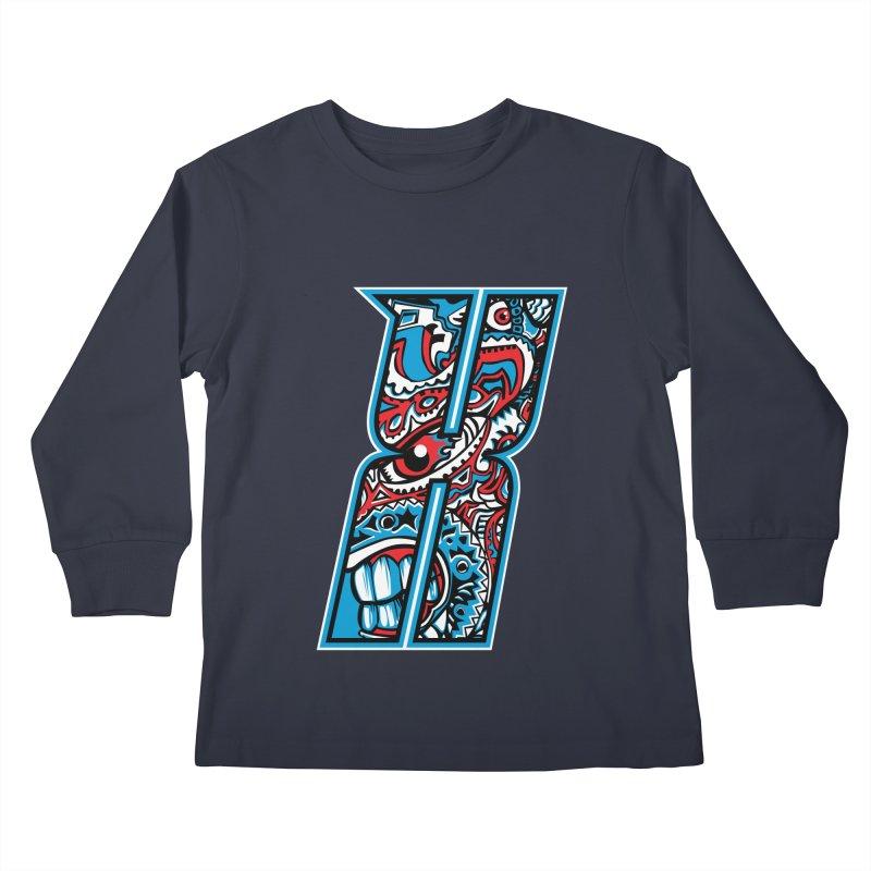 Crazy Face_X001 Kids Longsleeve T-Shirt by Art of Yaky Artist Shop