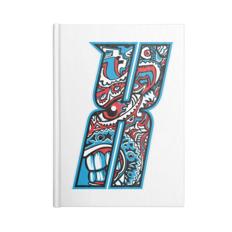 Crazy Face_X001 Accessories Lined Journal Notebook by Art of Yaky Artist Shop