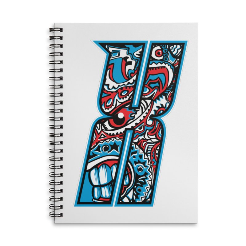 Crazy Face_X001 Accessories Lined Spiral Notebook by Art of Yaky Artist Shop