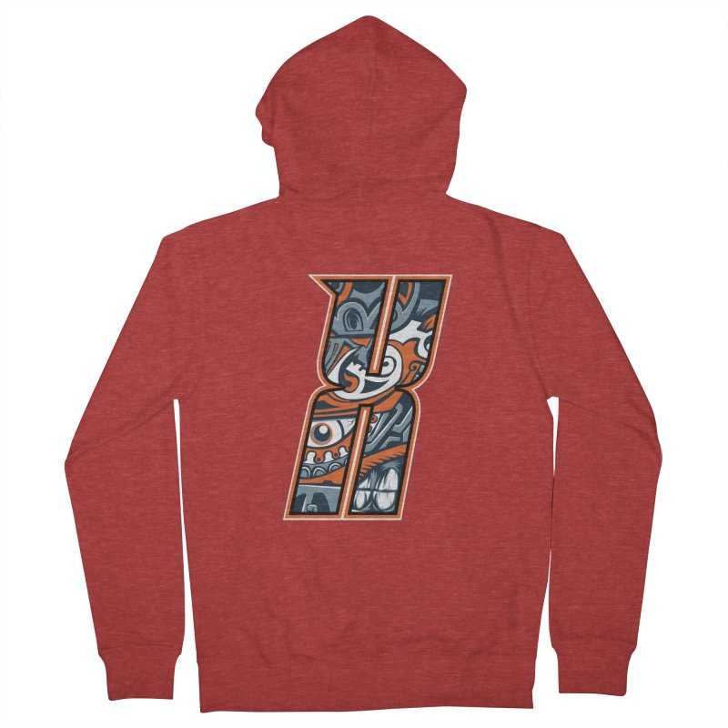 Crazy Face_X002 Men's French Terry Zip-Up Hoody by Art of Yaky Artist Shop