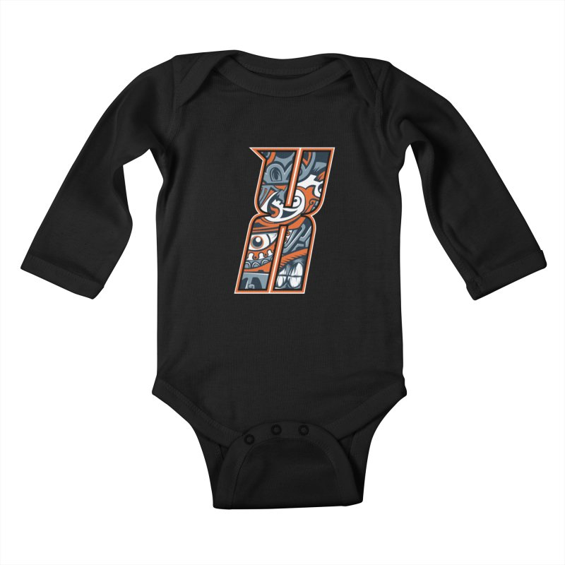 Crazy Face_X002 Kids Baby Longsleeve Bodysuit by Art of Yaky Artist Shop