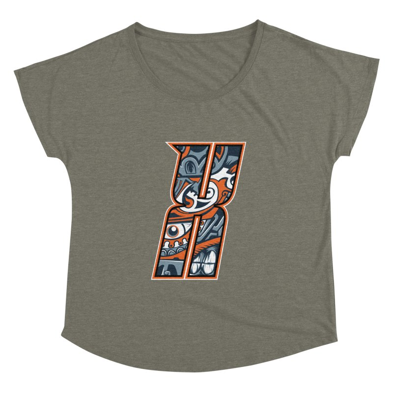 Crazy Face_X002 Women's Dolman Scoop Neck by Art of Yaky Artist Shop