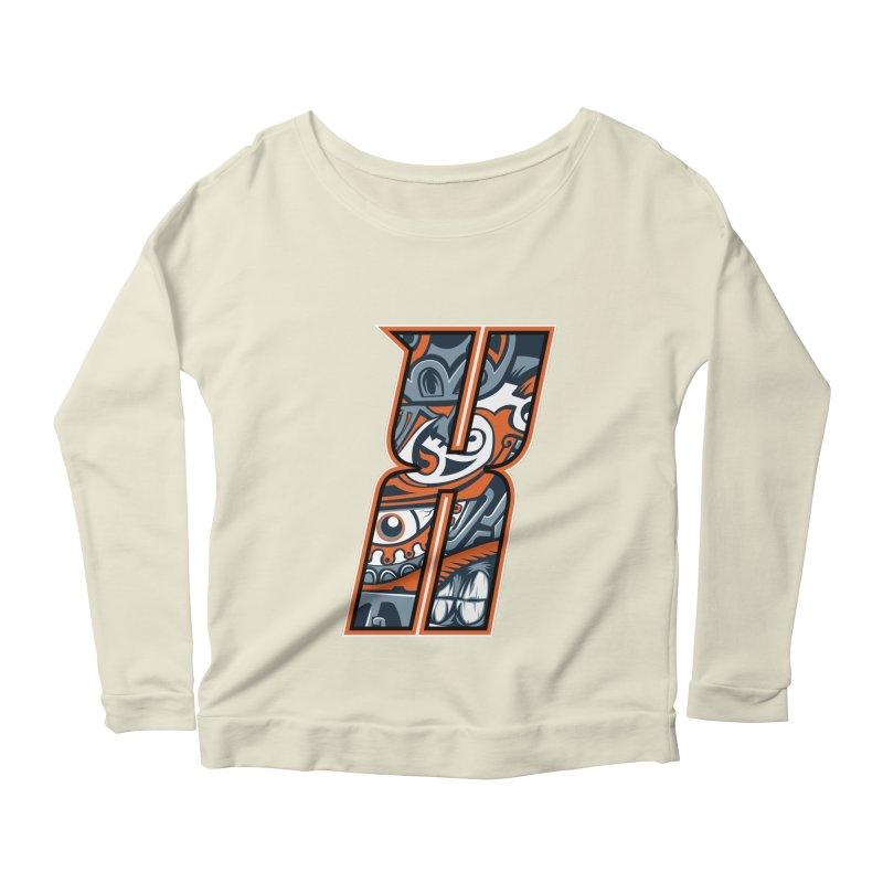 Crazy Face_X002 Women's Scoop Neck Longsleeve T-Shirt by Art of Yaky Artist Shop