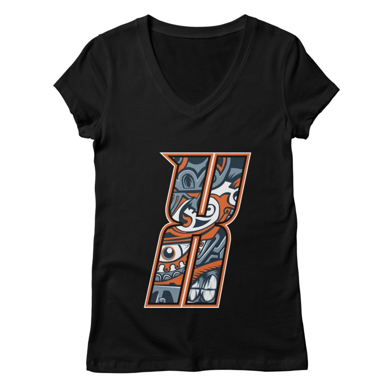 Crazy Face Alphabet (X) Women's V-Neck by Yaky's Customs