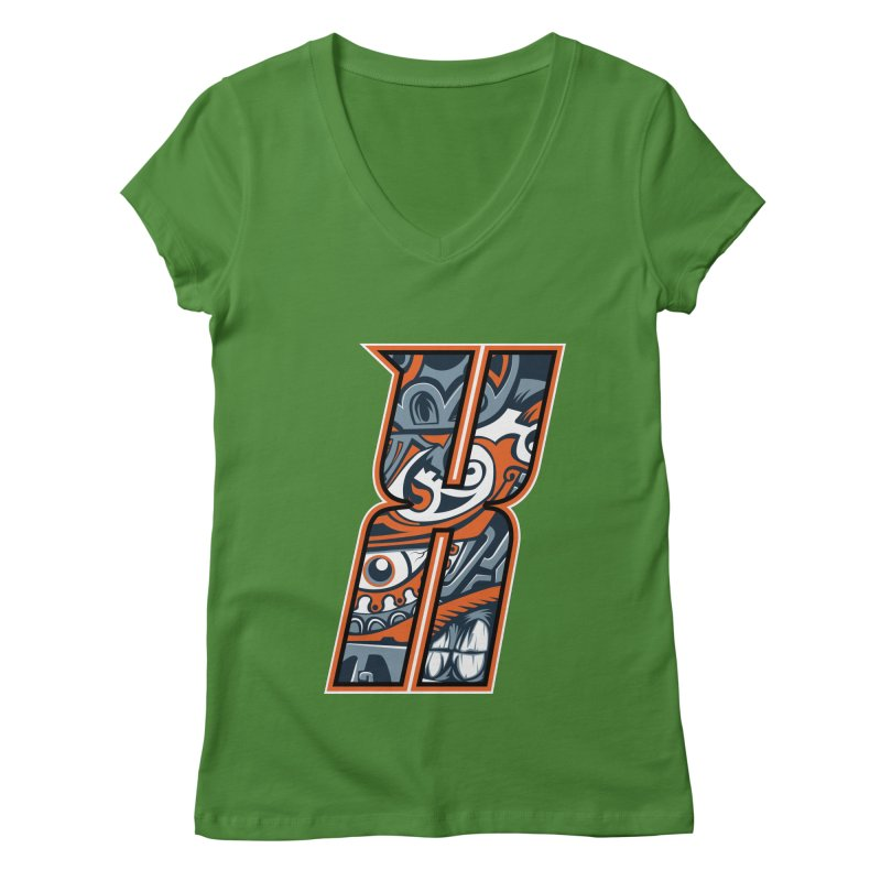 Crazy Face_X002 Women's V-Neck by Art of Yaky Artist Shop