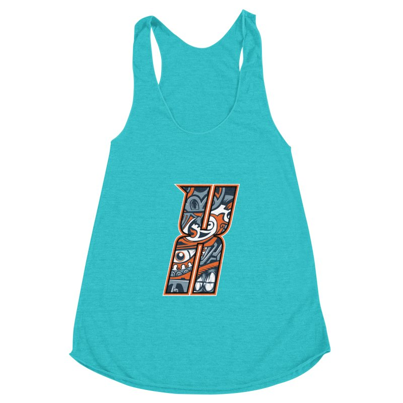 Crazy Face_X002 Women's Racerback Triblend Tank by Art of Yaky Artist Shop