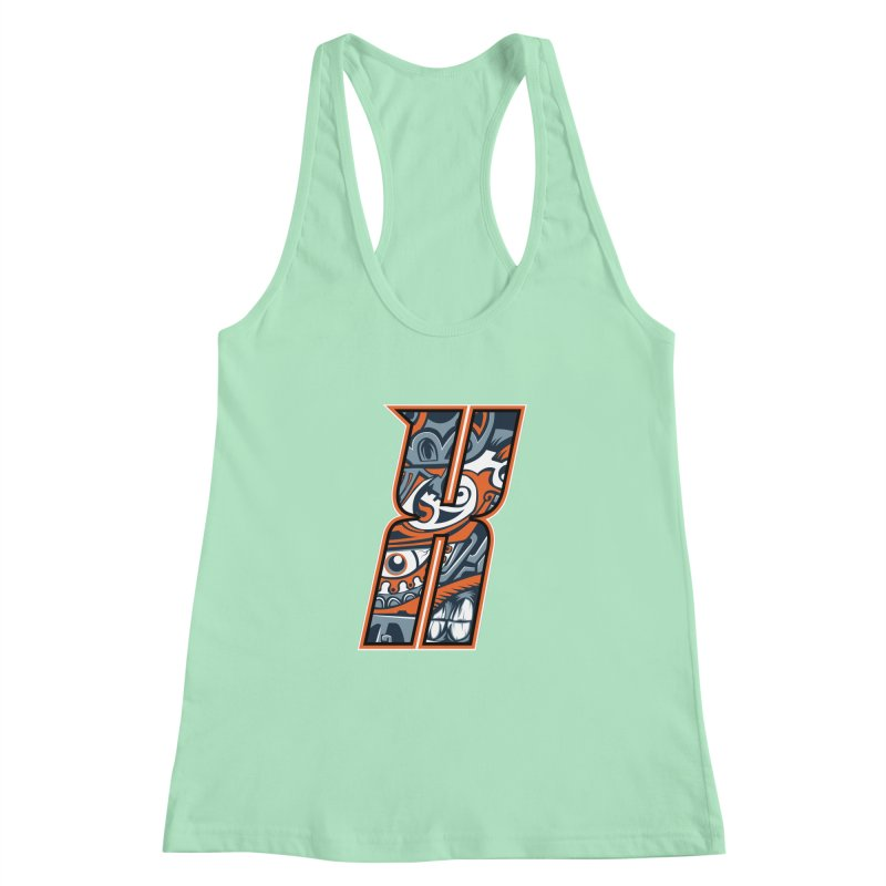 Crazy Face_X002 Women's Racerback Tank by Art of Yaky Artist Shop