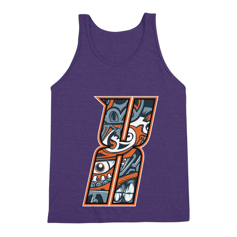 Crazy Face_X002 Men's Triblend Tank by Art of Yaky Artist Shop