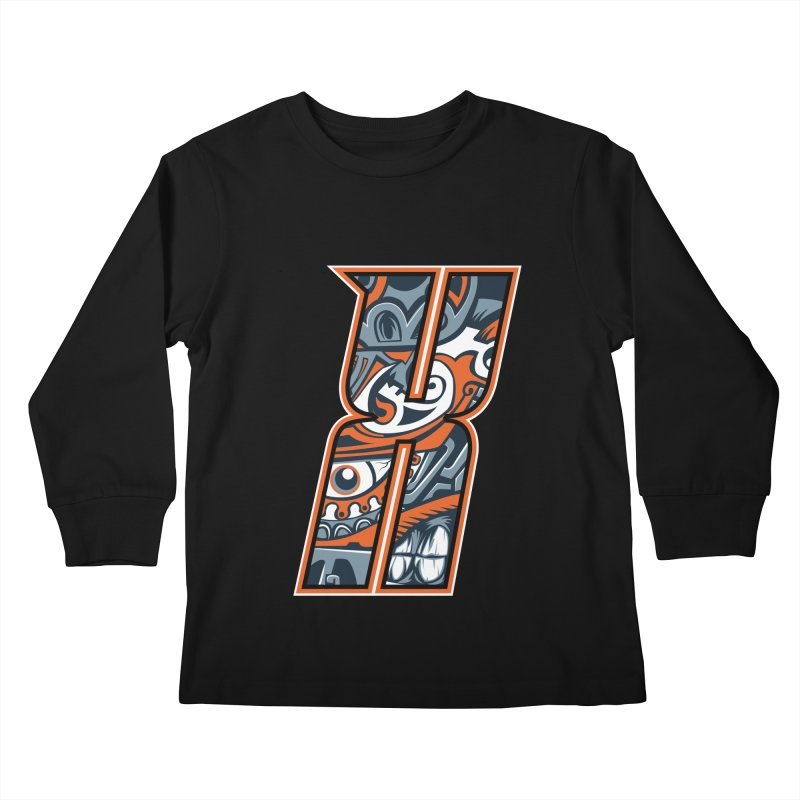 Crazy Face_X002 Kids Longsleeve T-Shirt by Art of Yaky Artist Shop