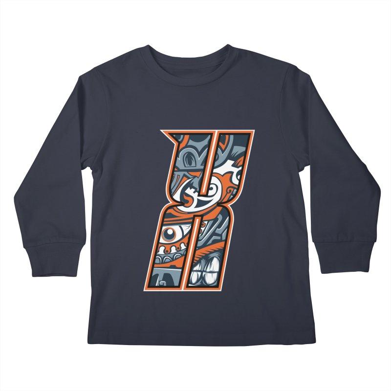 Crazy Face_X002 Kids Longsleeve T-Shirt by Art of Yaky Artist Shop