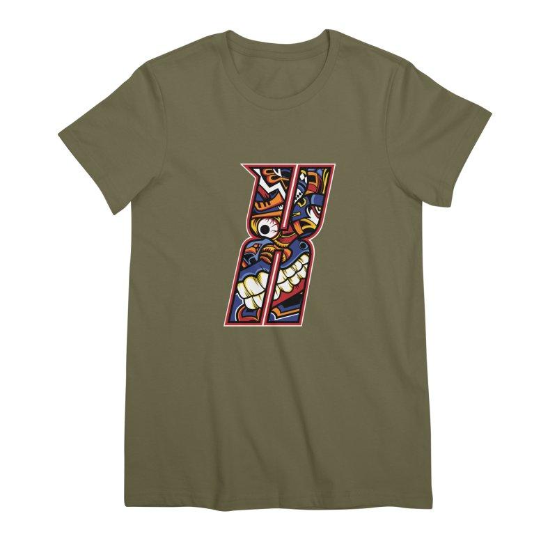 Crazy Face_X003 Women's Premium T-Shirt by Art of Yaky Artist Shop