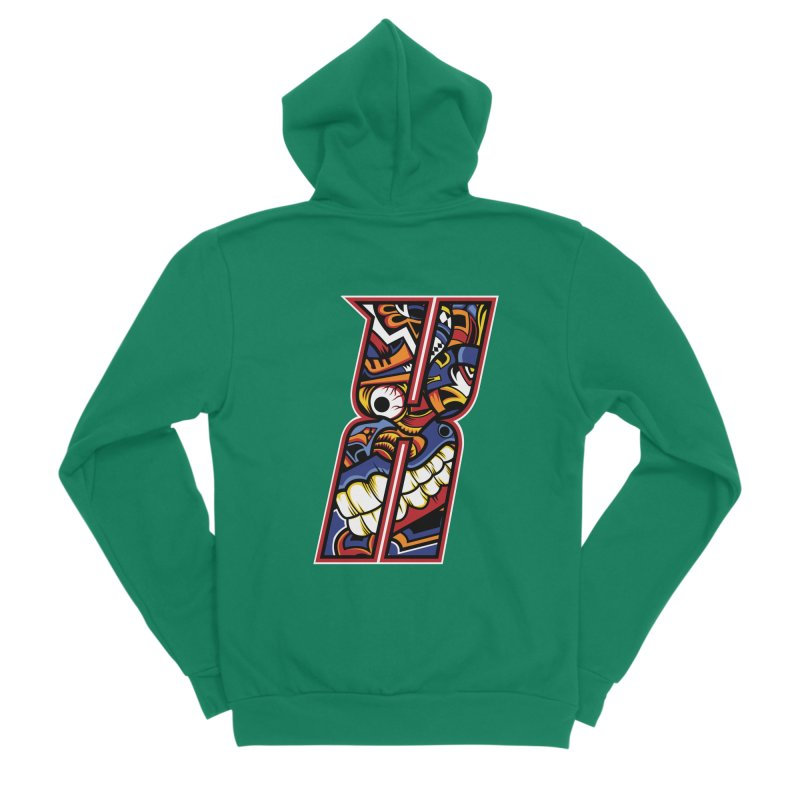 Crazy Face_X003 Women's Sponge Fleece Zip-Up Hoody by Art of Yaky Artist Shop