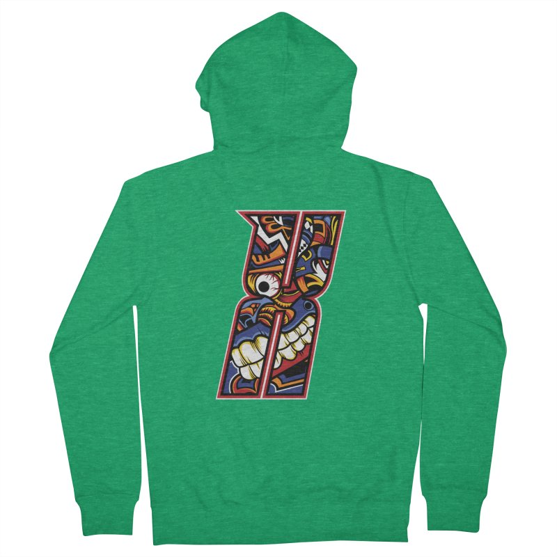 Crazy Face_X003 Men's Zip-Up Hoody by Art of Yaky Artist Shop