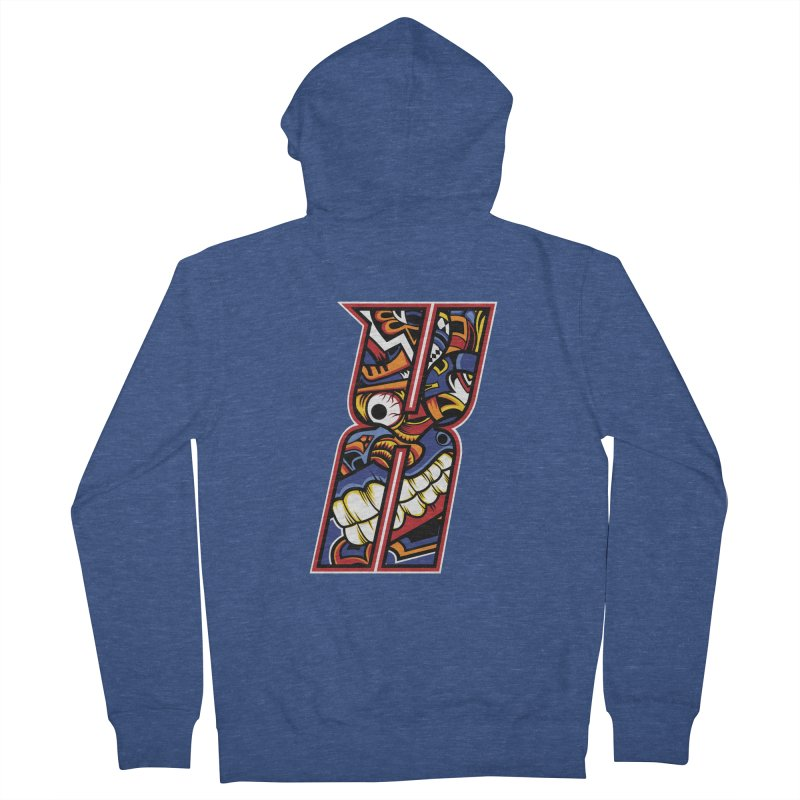 Crazy Face_X003 Women's French Terry Zip-Up Hoody by Art of Yaky Artist Shop