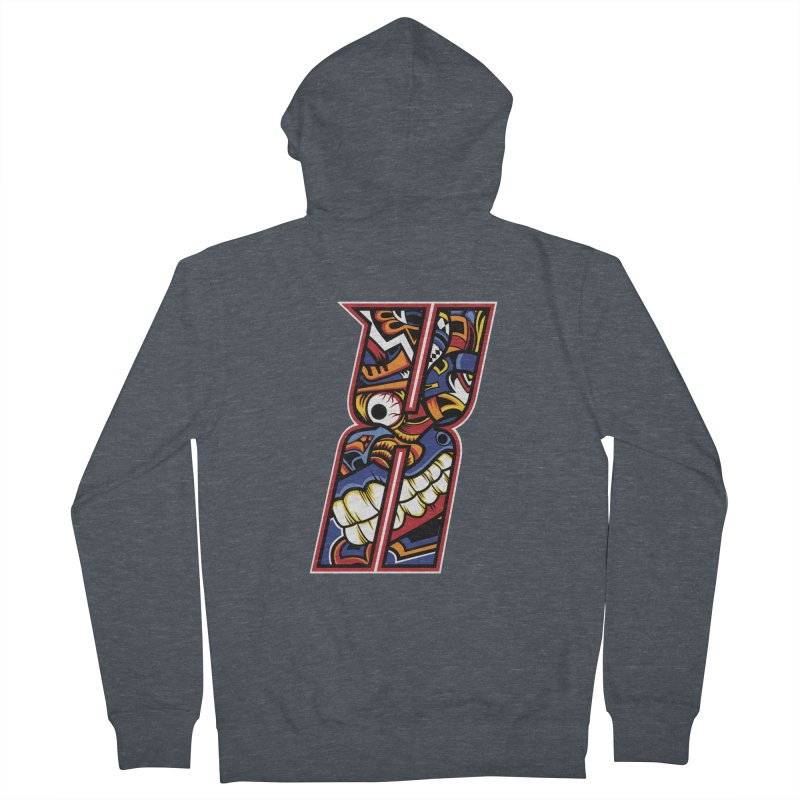 Crazy Face_X003 Men's French Terry Zip-Up Hoody by Art of Yaky Artist Shop