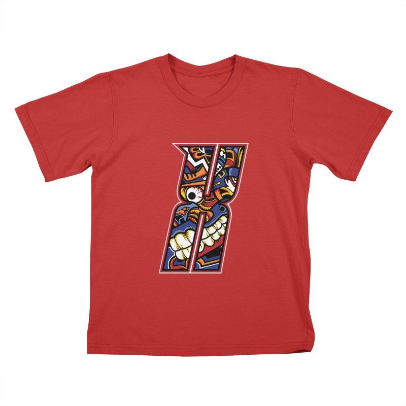 Crazy Face_X003 Kids T-Shirt by Art of Yaky Artist Shop