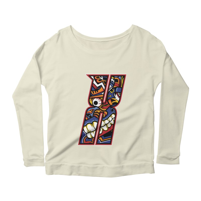 Crazy Face_X003 Women's Scoop Neck Longsleeve T-Shirt by Art of Yaky Artist Shop