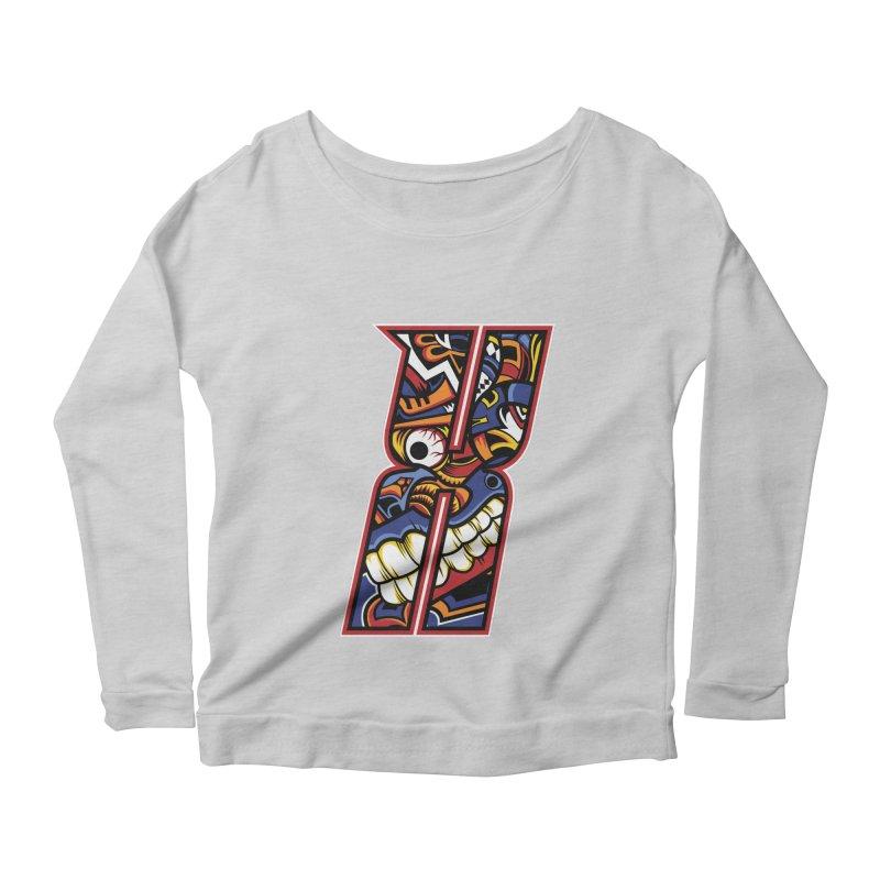 Crazy Face_X003 Women's Scoop Neck Longsleeve T-Shirt by Art of Yaky Artist Shop