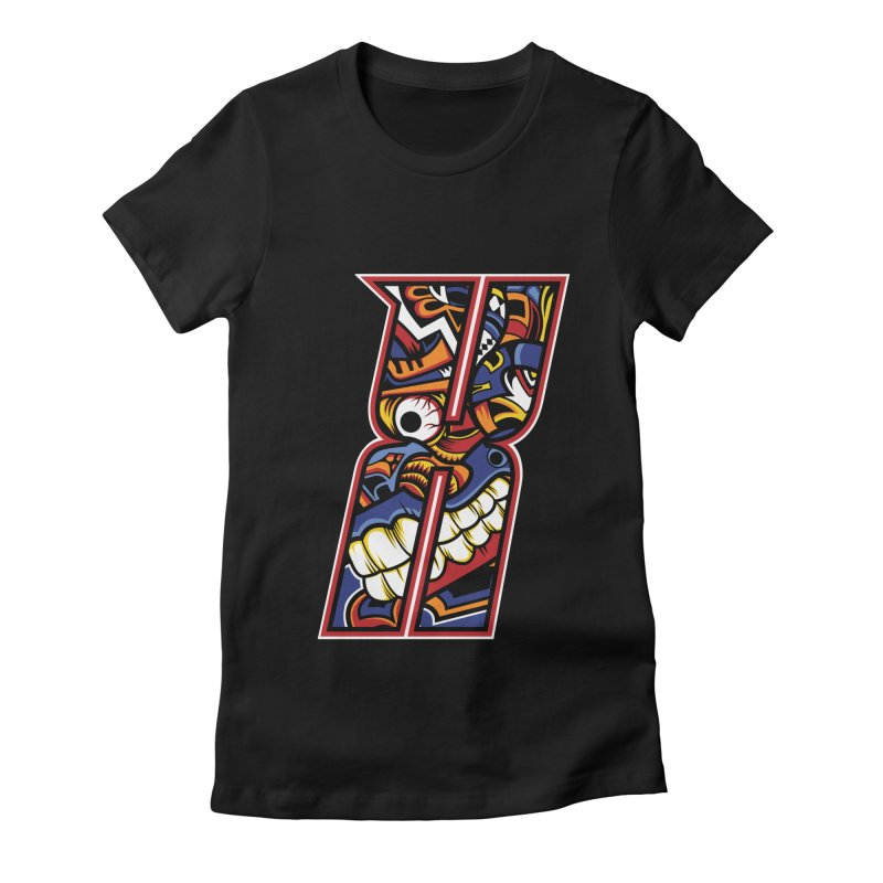 Crazy Face_X003 Women's Fitted T-Shirt by Art of Yaky Artist Shop