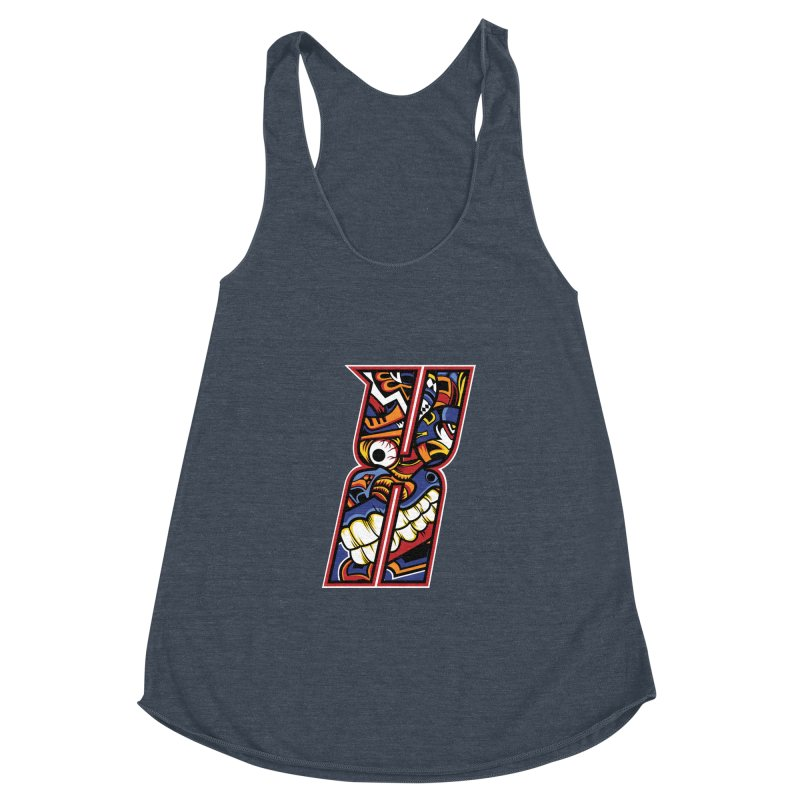 Crazy Face_X003 Women's Racerback Triblend Tank by Art of Yaky Artist Shop