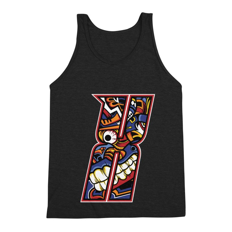 Crazy Face_X003 Men's Triblend Tank by Art of Yaky Artist Shop