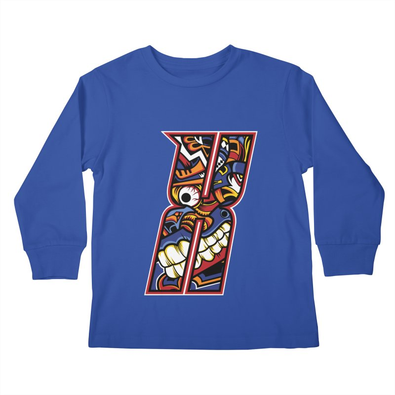 Crazy Face_X003 Kids Longsleeve T-Shirt by Art of Yaky Artist Shop