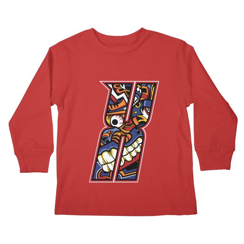 Crazy Face_X003 Kids Longsleeve T-Shirt by Art of Yaky Artist Shop