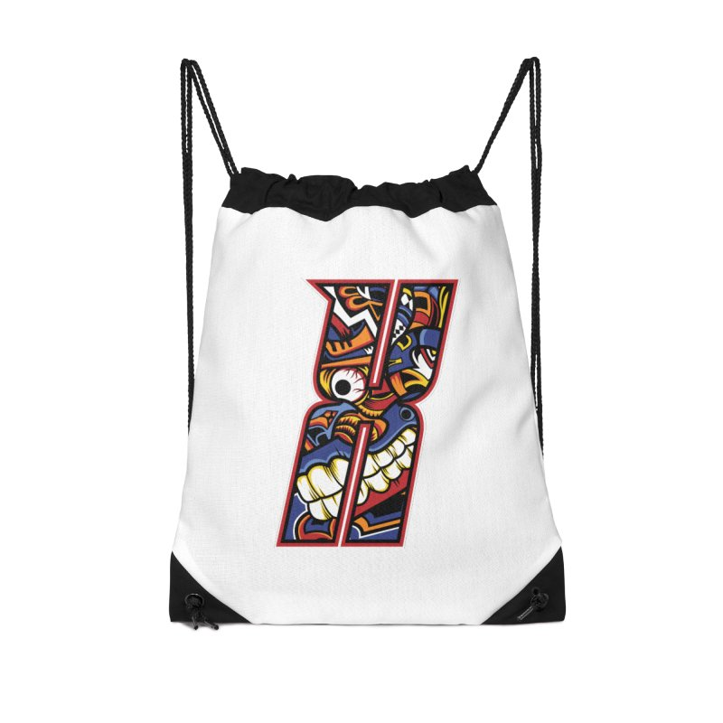 Crazy Face_X003 Accessories Drawstring Bag Bag by Art of Yaky Artist Shop