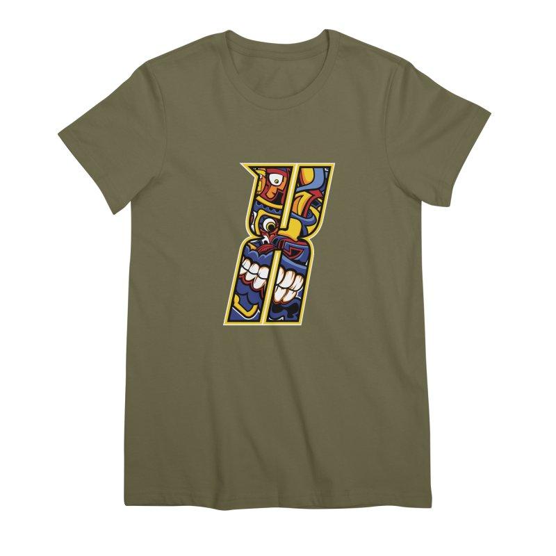 Crazy Face_X004 Women's Premium T-Shirt by Art of Yaky Artist Shop
