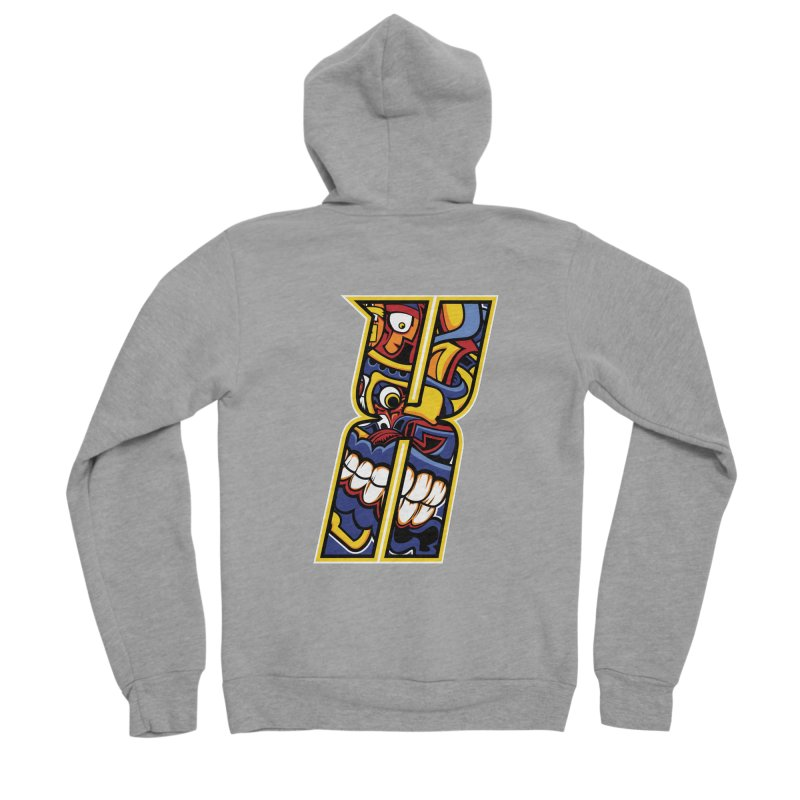 Crazy Face_X004 Women's Sponge Fleece Zip-Up Hoody by Art of Yaky Artist Shop