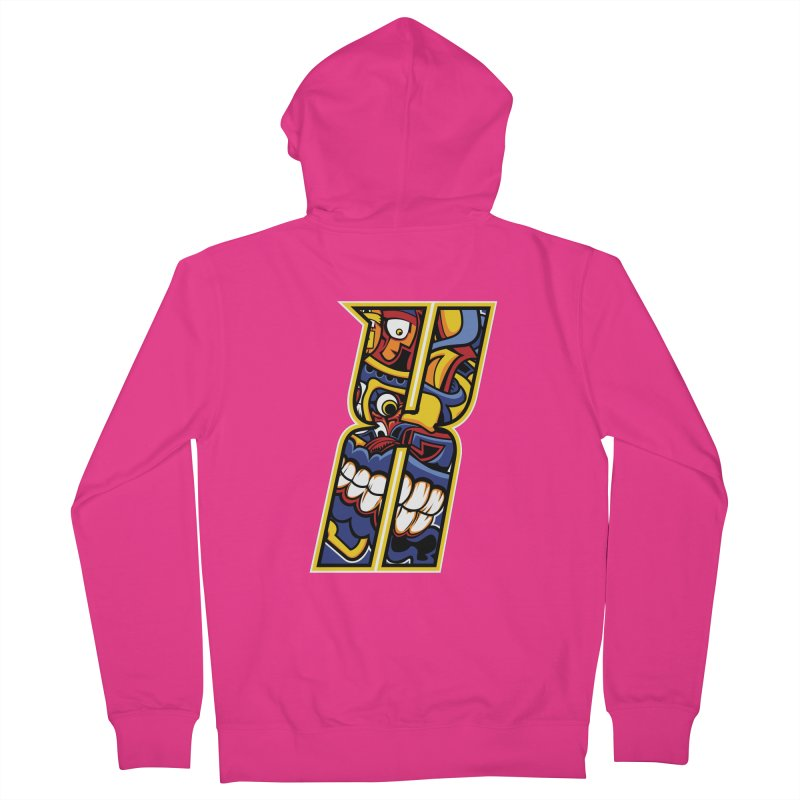 Crazy Face_X004 Men's French Terry Zip-Up Hoody by Art of Yaky Artist Shop