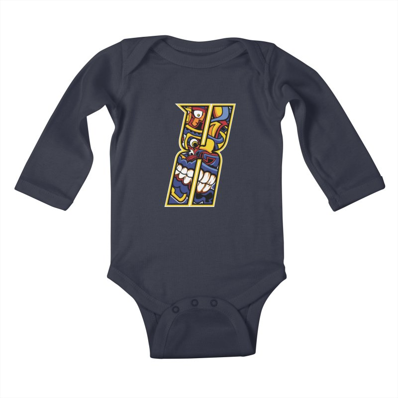 Crazy Face_X004 Kids Baby Longsleeve Bodysuit by Art of Yaky Artist Shop