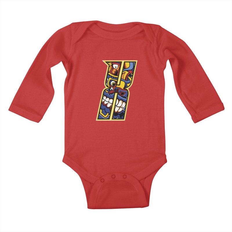 Crazy Face_X004 Kids Baby Longsleeve Bodysuit by Art of Yaky Artist Shop
