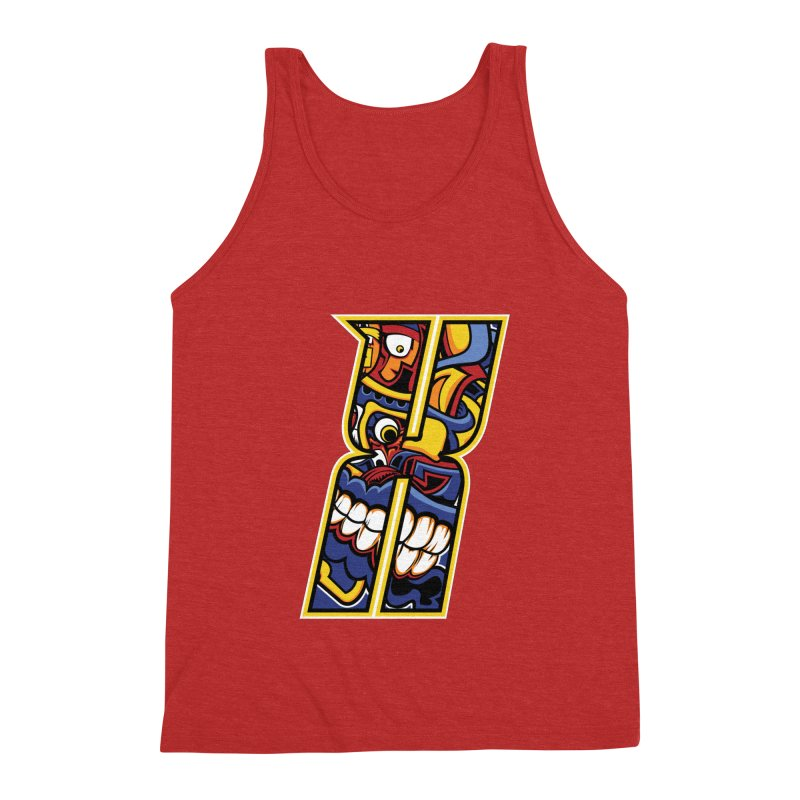 Crazy Face_X004 Men's Triblend Tank by Art of Yaky Artist Shop