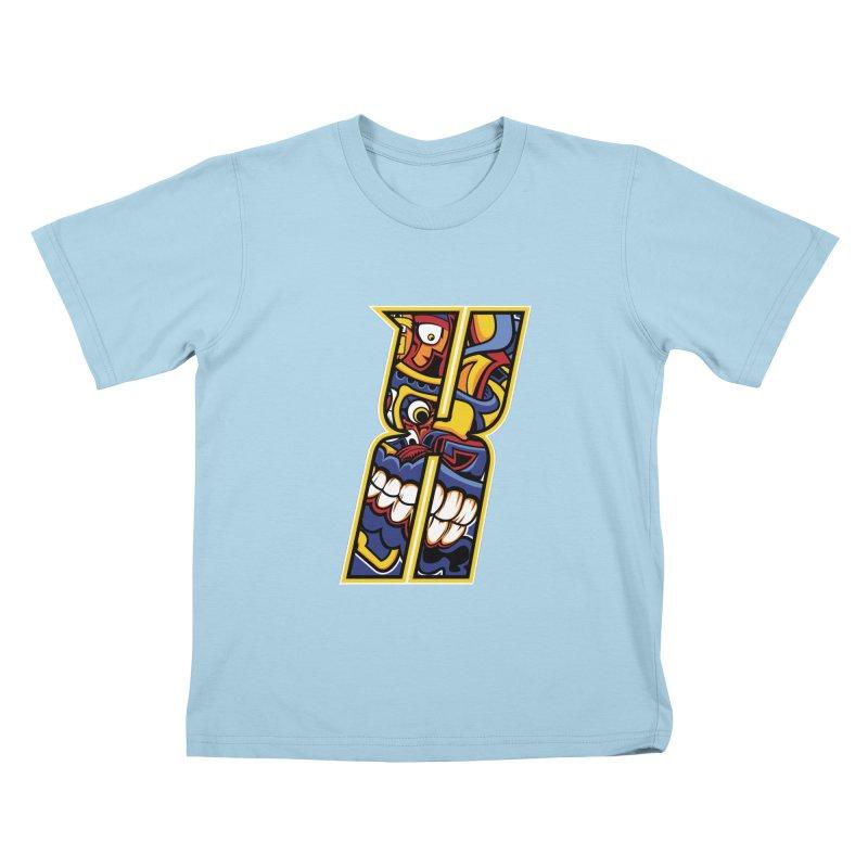 Crazy Face_X004 Kids T-Shirt by Art of Yaky Artist Shop