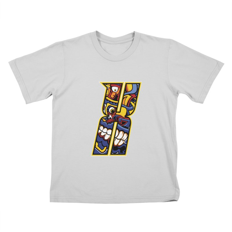 Crazy Face_X004 Kids T-Shirt by Art of Yaky Artist Shop