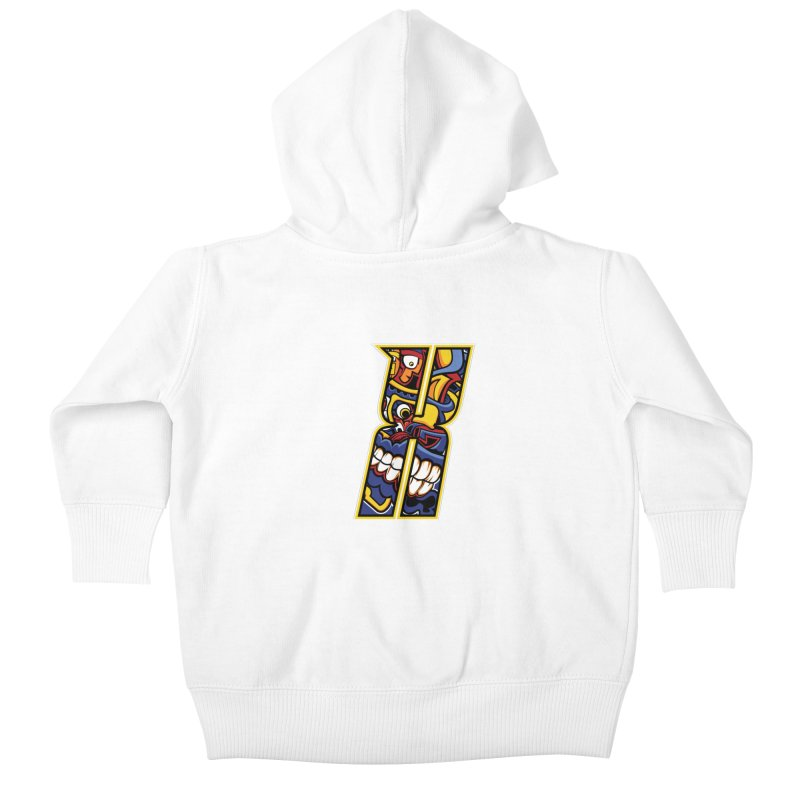 Crazy Face_X004 Kids Baby Zip-Up Hoody by Art of Yaky Artist Shop