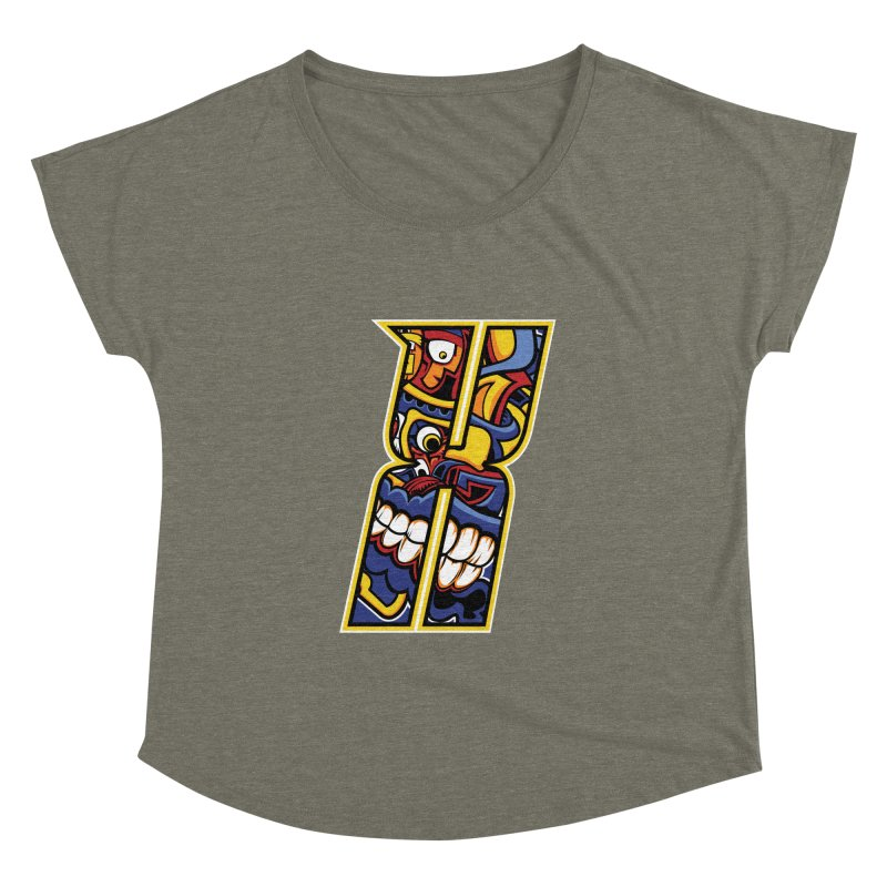 Crazy Face_X004 Women's Dolman Scoop Neck by Art of Yaky Artist Shop