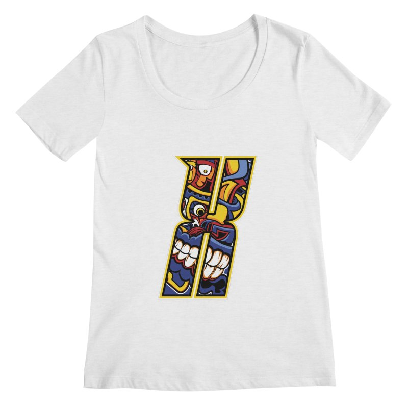 Crazy Face_X004 Women's Regular Scoop Neck by Art of Yaky Artist Shop