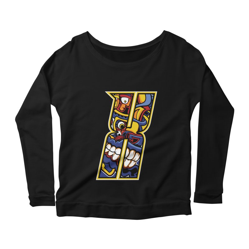 Crazy Face_X004 Women's Scoop Neck Longsleeve T-Shirt by Art of Yaky Artist Shop