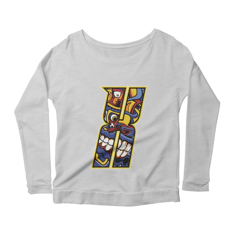 Crazy Face_X004 Women's Scoop Neck Longsleeve T-Shirt by Art of Yaky Artist Shop