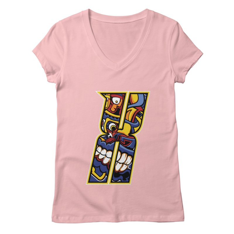 Crazy Face_X004 Women's Regular V-Neck by Art of Yaky Artist Shop