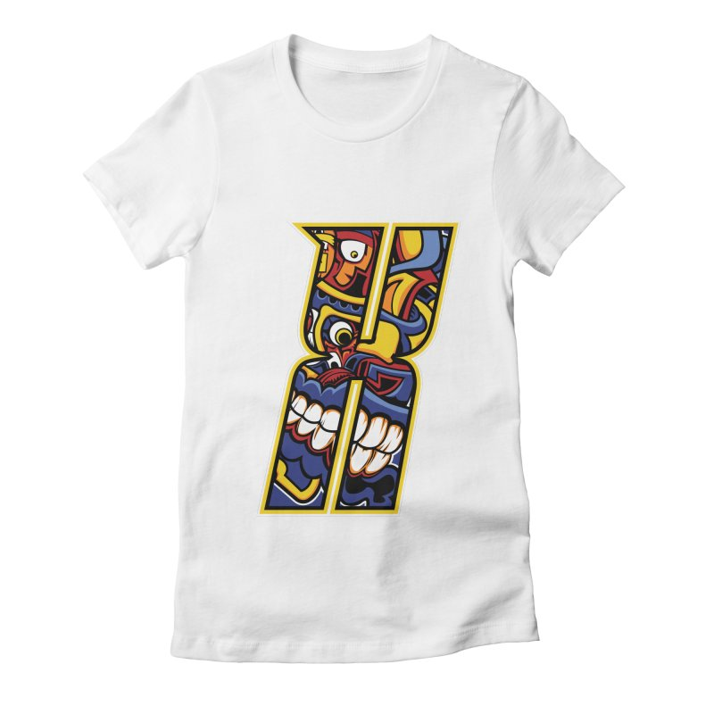 Crazy Face_X004 Women's Fitted T-Shirt by Art of Yaky Artist Shop
