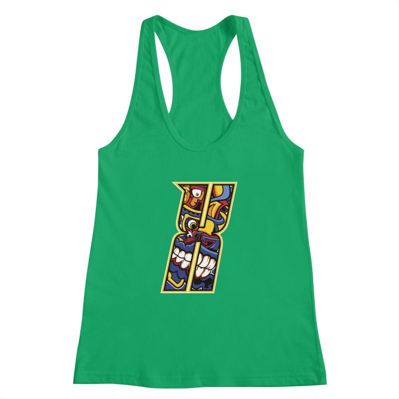 Crazy Face_X004 Women's Racerback Tank by Art of Yaky Artist Shop