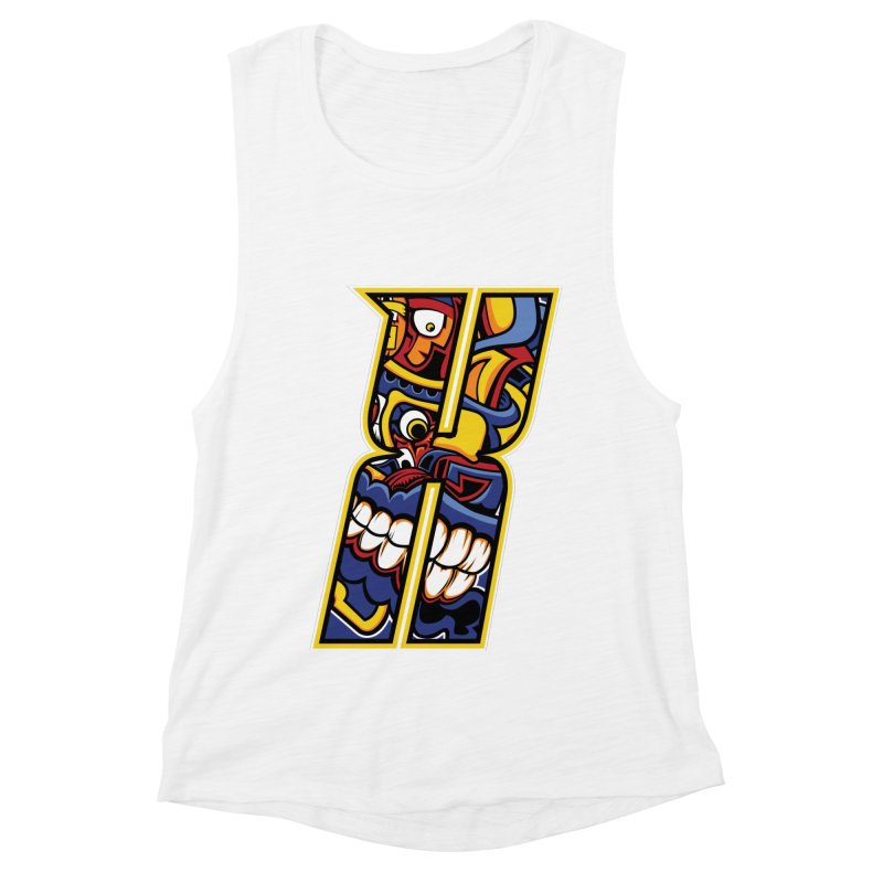Crazy Face_X004 Women's Muscle Tank by Art of Yaky Artist Shop